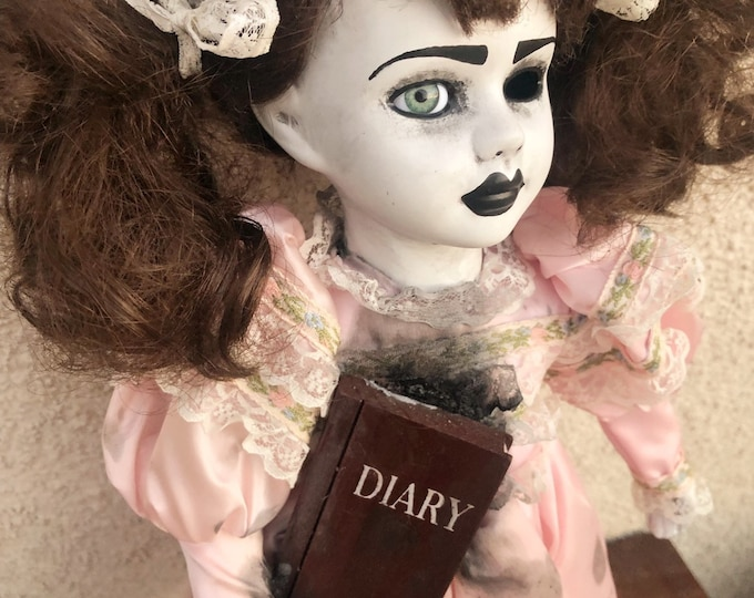 creepy doll pigtails girl with diary spooky ooak gothic horror halloween art by christie creepydolls