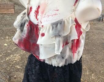 Juniors XL black lace and white zombie vampire victim horror halloween murder crime bloody costume