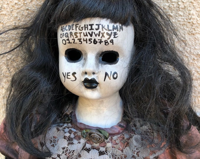 creepy sitting black hair ouija board girl spooky ooak gothic horror halloween art by christie creepydolls