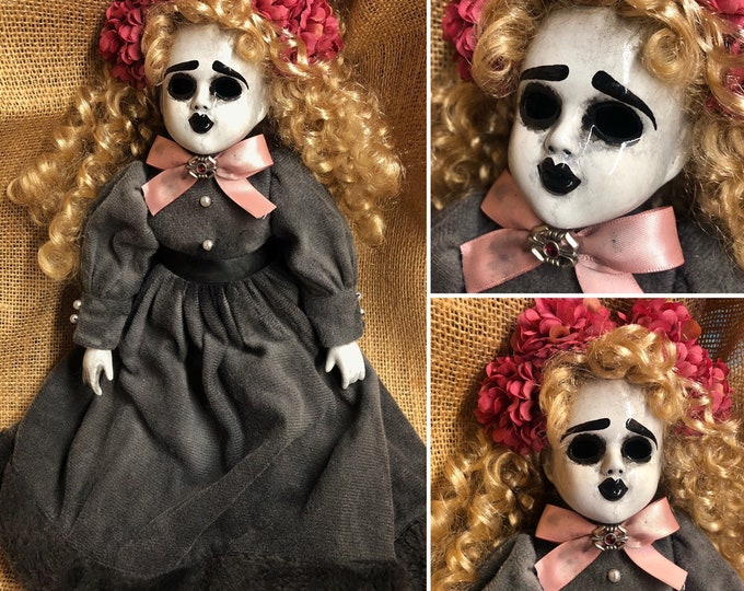 creepy doll Ooak Gothic Halloween Horror Pink Flowers Girl Repaint Custom Art