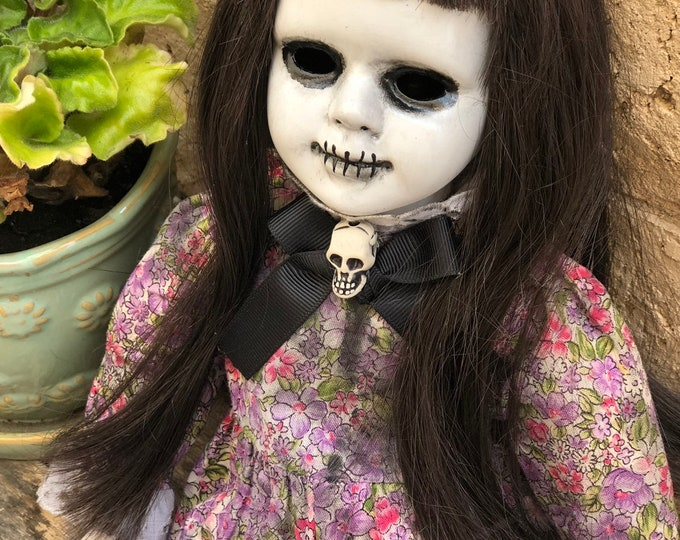 Creepy doll stitches mouth spooky doll with skull bow ooak gothic horror halloween art by christie creepydolls