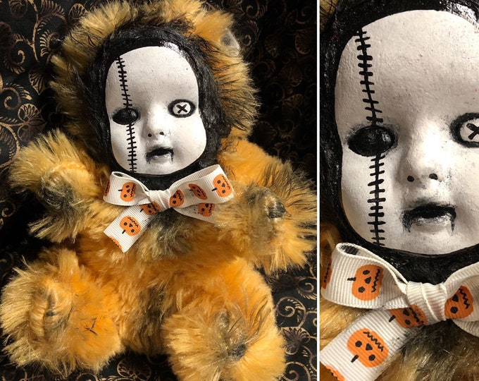 creepy Dark art doll Ooak Gothic Horror Pumpkin bow Teddy bear plush custom Art