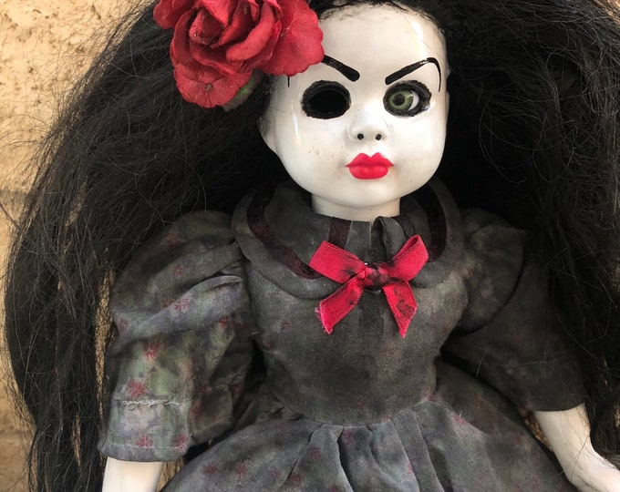 Creepy doll mourning girl with a rose and pink lips ooak gothic horror halloween art by christie creepydolls