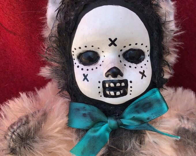 Free usa shipping Creepy doll ooak day of the dead teddy bear plush halloween horror art by christie creepydolls