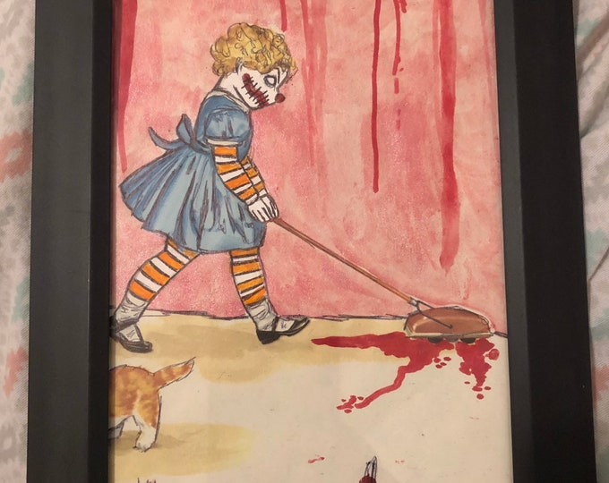Bloody clown girl in striped socks weird framed original old book art drawing painting by christiecreepydolls