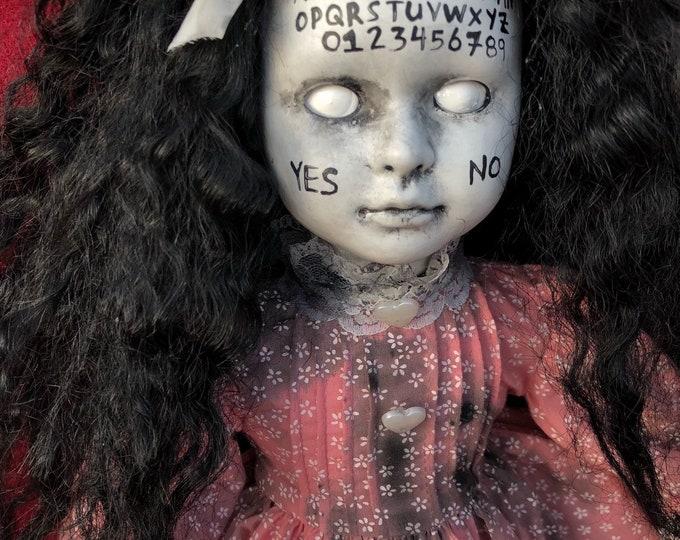 ouija board ghost girl in pink spooky ooak gothic horror halloween art by christie creepydolls