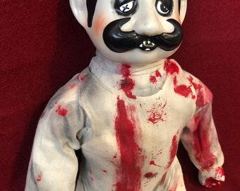 creepy doll sitting bloody butcher man with moustache ooak gothic horror halloween art by christie creepydolls