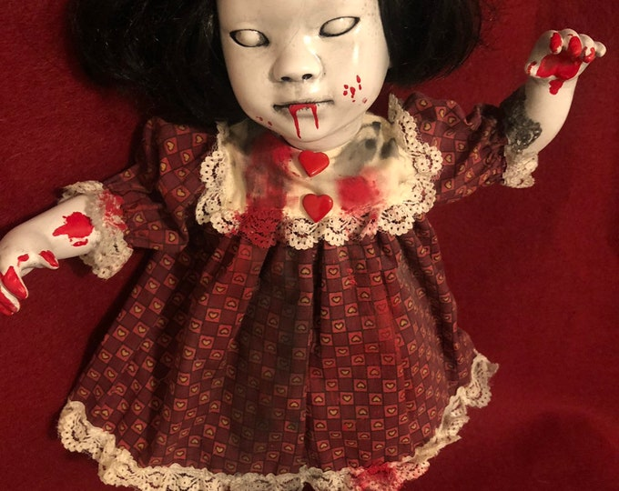 creepy doll ghost zombie girl spooky ooak gothic horror halloween art by christie creepydolls