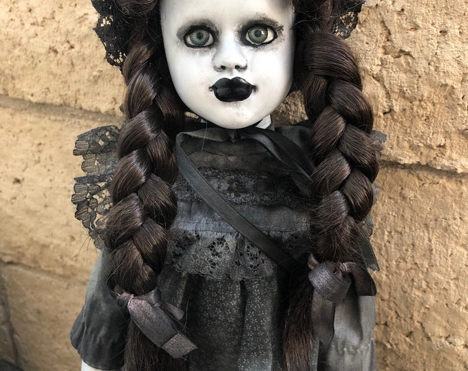 Creepy doll mourning child doll with bonnet and pigtails ooak gothic horror halloween art by christie creepydolls