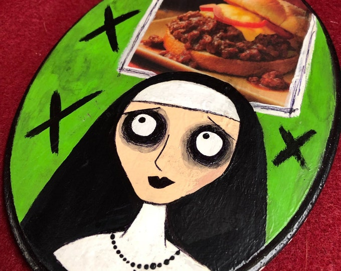 Free usa shipping art original acrylic painting on wood junk mail hungry sloppy joes nun by christiecreepydolls