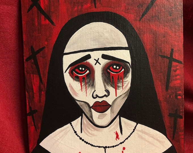 Creepy dead zombie tears of blood nun woman original art acrylic outsider art painting by christiecreepydolls