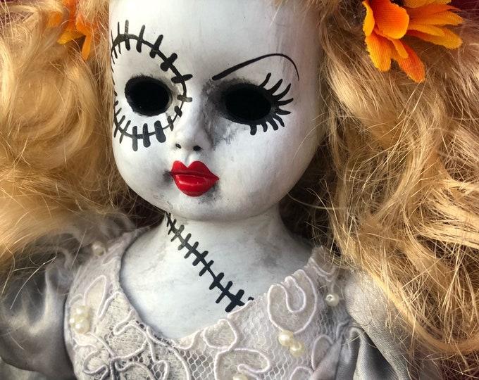 creepy stitches bride lady  spooky ooak gothic horror halloween art by christie creepydolls