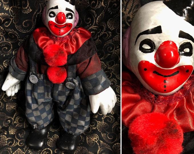 Creepy doll Ooak Halloween horror small Psycho Circus clown man #3 Custom Art