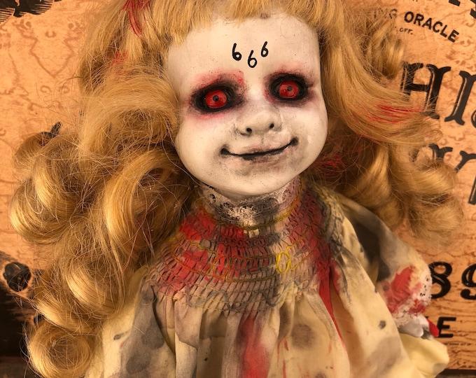 Creepy doll 666 evil possessed demon devil girl ooak gothic horror halloween art by christie creepydolls