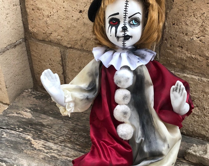 Creepy doll Half and half clown girl ooak horror halloween cute art by christie creepydolls