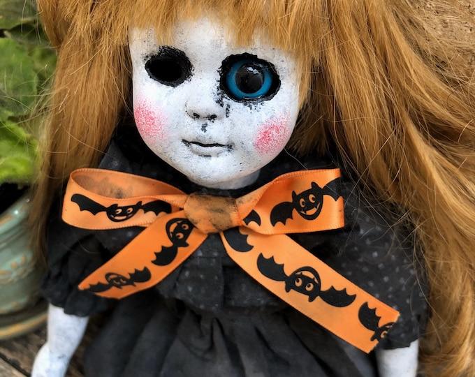 Creepy doll big eye bats ribbon sitting mourning girl ooak halloween gothic horror by christie creepydolls