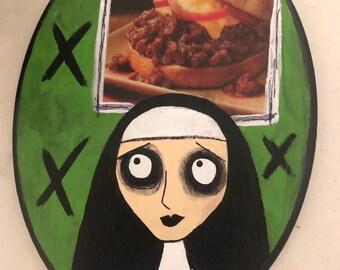 Creepy art original acrylic painting on wood junk mail hungry sloppy joes nun by christiecreepydolls