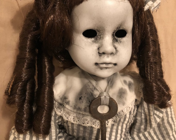creepy doll sitting girl in striped dress with reproduction old key spooky ooak gothic horror halloween art by christie creepydolls