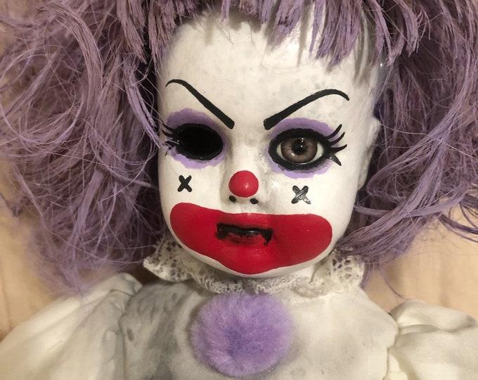creepy doll sitting purple hair clown girl with one eye spooky ooak gothic horror halloween art by christie creepydolls