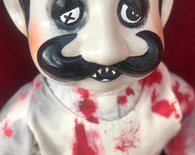 Free usa shipping creepy doll sitting bloody butcher man with moustache ooak gothic horror halloween art by christie creepydolls