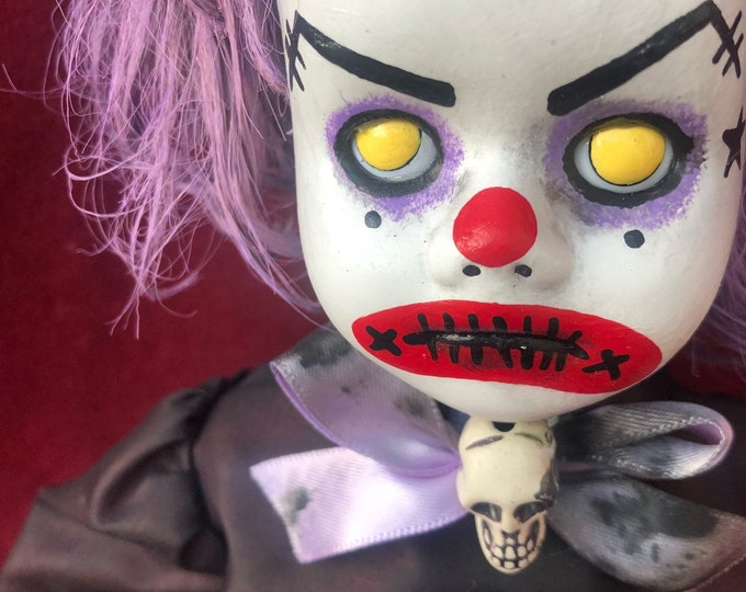 Free usa shipping creepy doll sitting purple hair clown girl spooky ooak gothic horror halloween art by christie creepydolls