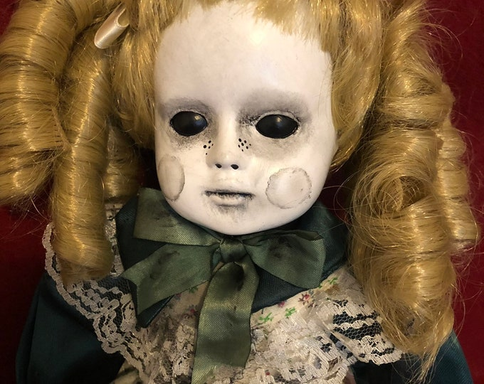 creepy doll sitting blonde girl with black eyes spooky ooak gothic horror halloween art by christie creepydolls