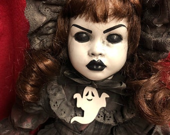 creepy doll mourning girl with ghost brooch spooky ooak gothic horror halloween art by christie creepydolls