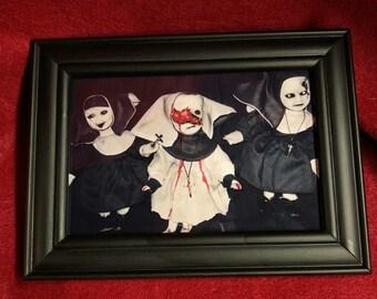 framed creepy dolls 3 nuns doll print home decor gothic halloween horror ChristieCreepydolls