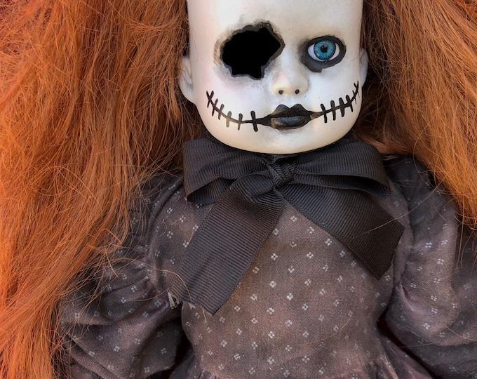 creepy doll sitting mourning stitches girl one eye spooky ooak gothic horror halloween art by christie creepydolls