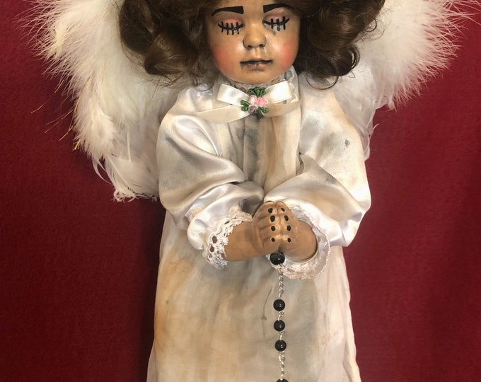 Free usa shipping creepy doll hanging praying angel with wings stitches spooky ooak gothic horror halloween art by christie creepydolls