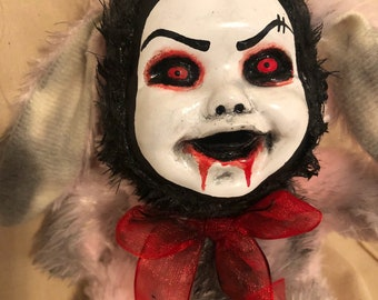 Creepy doll bunny rabbit smaller plush red eyes evil pink fur gothic halloween horror by christiecreepydolls