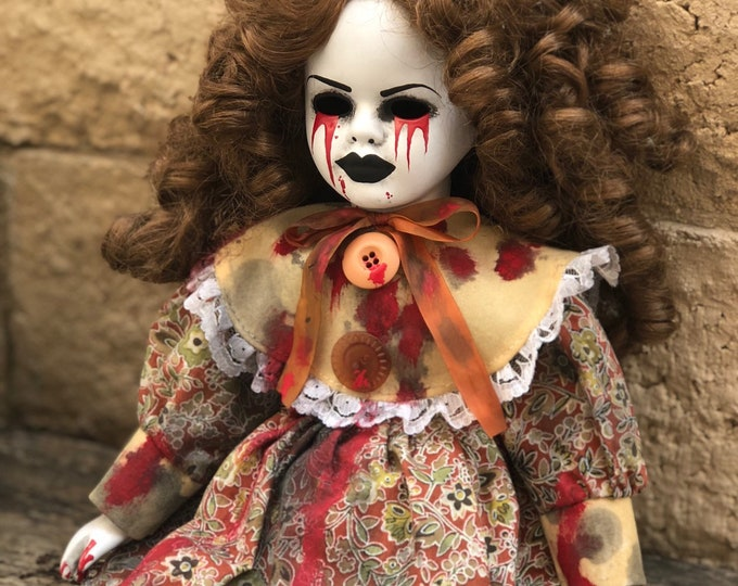 Creepy weeping tears of blood spooky doll with curly hair ooak gothic horror halloween art by christie creepydolls