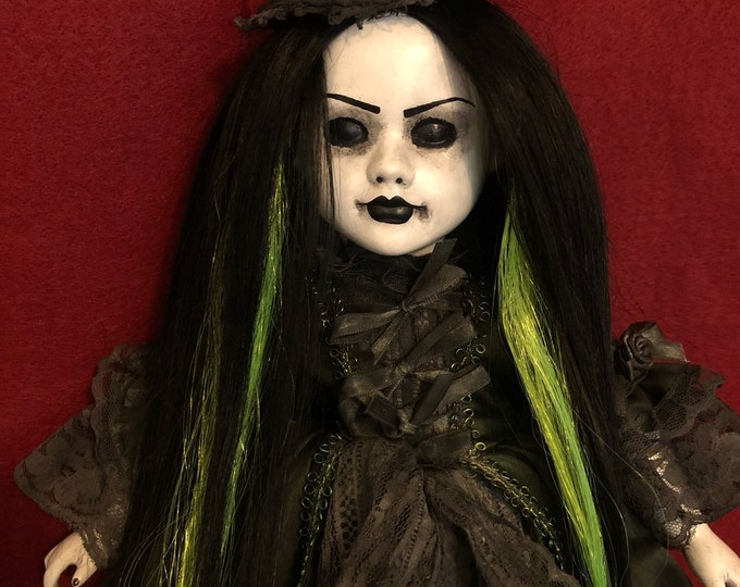 Sale creepy doll black and green hair mourning lady spooky ooak gothic horror halloween art by christie creepydolls