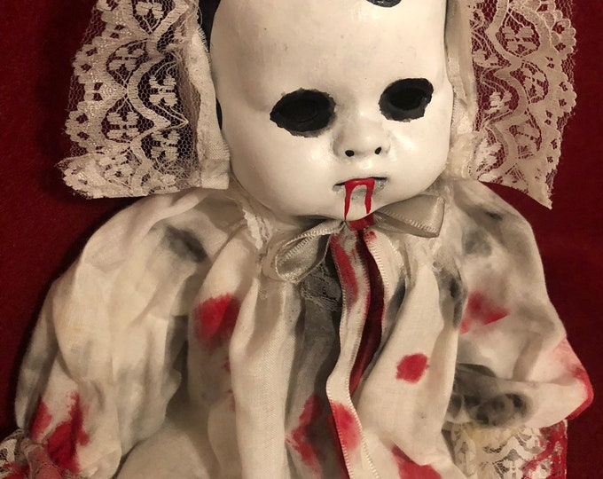 creepy doll vampire baby in white gown and bonnet spooky ooak gothic horror halloween art by christie creepydolls