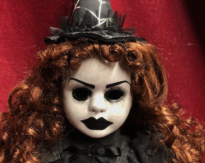Free usa shipping creepy doll mourning witch curly hair spooky ooak gothic horror halloween art by christie creepydolls