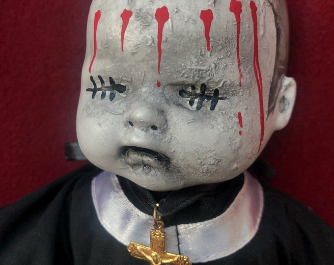 Free usa shipping creepy doll smaller alter boy baby with cross doll spooky ooak gothic horror halloween art by christie creepydolls