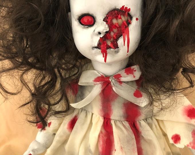 Creepy doll ooak sitting vampire girl with sharp teeth halloween horror gothic art by christiecreepydolls