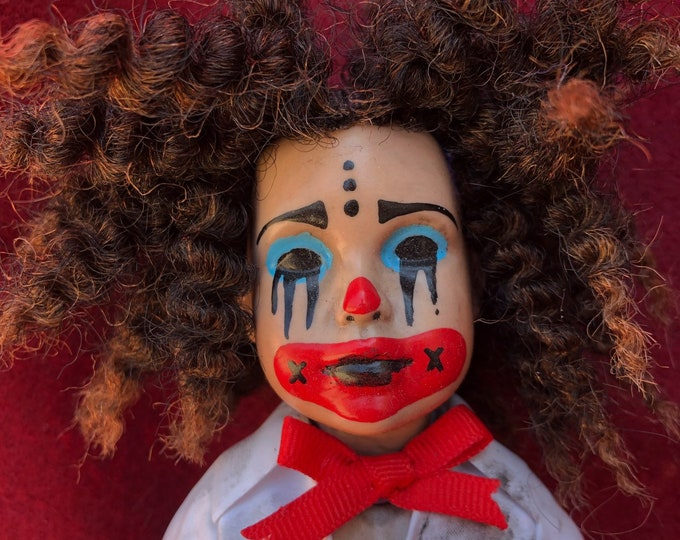 Free usa shipping creepy doll small  clown girl spooky doll ooak gothic horror halloween art by christie creepydolls
