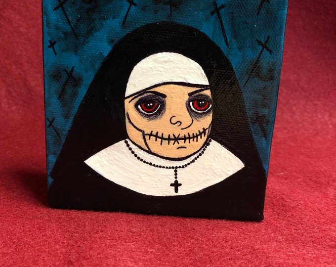 Free usa shipping Creepy art original weird scary acrylic painting nun with evil red eyes by christiecreepydolls