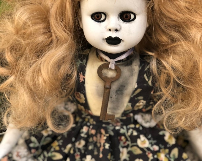 Creepy doll sweet blonde old skeleton key spooky doll ooak gothic horror halloween art by christie creepydolls