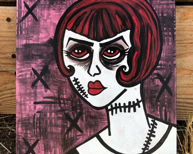Creepy goth girl with stitches original art acrylic outsider art painting by christiecreepydolls