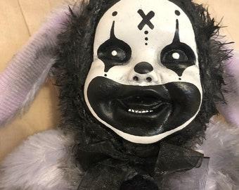 Creepy doll bunny rabbit smaller plush clown purple fur gothic halloween horror by christiecreepydolls