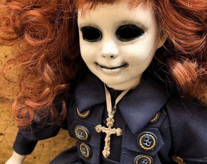 Creepy doll wild hair ghost girl with cross spooky ooak gothic horror halloween art by christie creepydolls