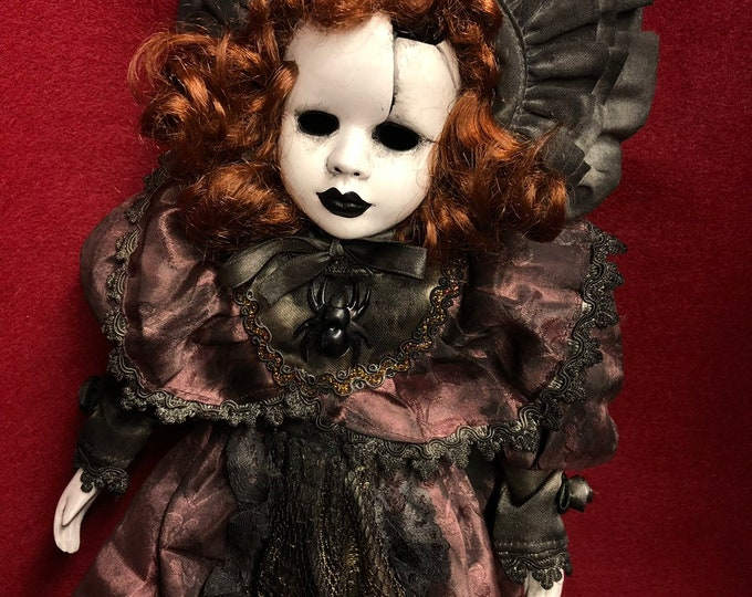 Free usa shipping creepy doll cracked mourning lady spooky ooak gothic horror halloween art by christie creepydolls