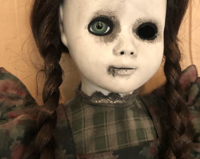 creepy doll one eye pigtails braids mourning girl spooky ooak gothic horror halloween art by christie creepydolls