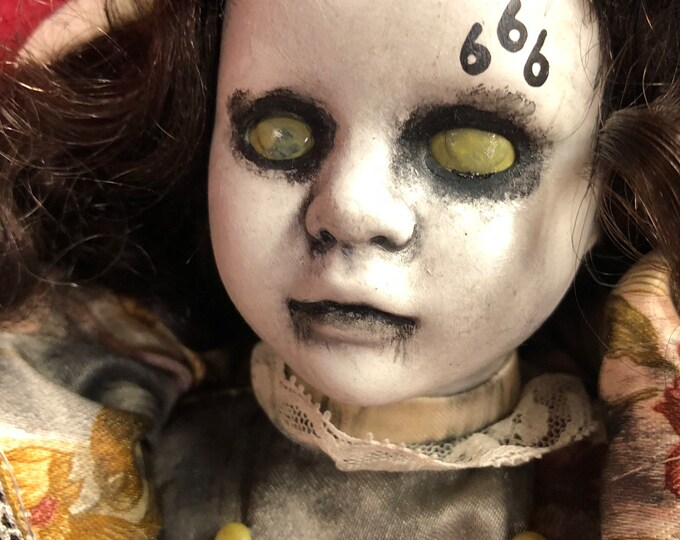 creepy doll 666 evil lady spooky ooak gothic horror halloween art by christie creepydolls