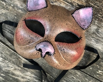 Free usa shipping Brown kitty cat Masquerade mask halloween costume hand painted renn faire fetish adjustable tie back