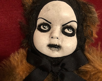 Sale Creepy doll ooak spooky teddy bear plush halloween horror art by christie creepydolls