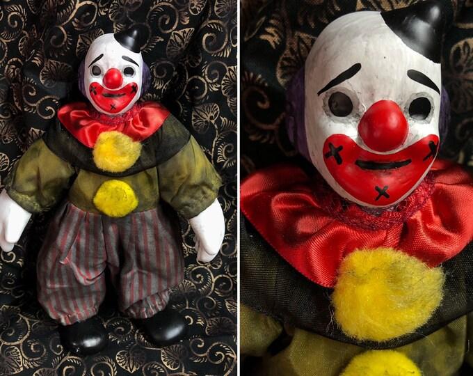 Creepy doll Ooak Halloween horror small Psycho Circus clown man #1 Custom Art