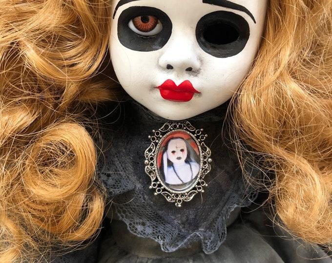 Creepy doll mourning girl with nun doll brooch spooky ooak gothic horror halloween art by christie creepydolls